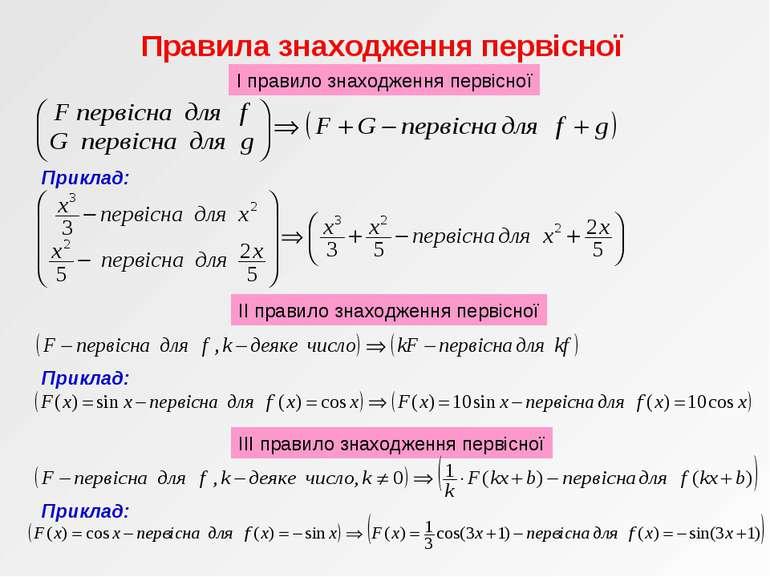 Правила знаходження первісної Приклад: І правило знаходження первісної ІІ пра...