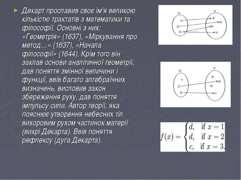 Декарт прославив своє ім'я великою кількістю трактатів з математики та філосо...