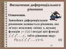Визначення диференціального рівняння Означення.