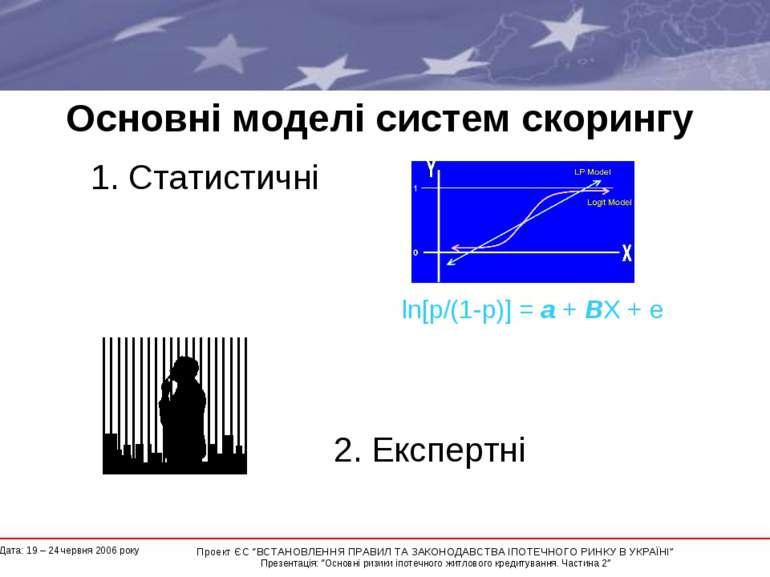 Основні моделі систем скорингу 1. Статистичні 2. Експертні ln[p/(1-p)] = a + ...