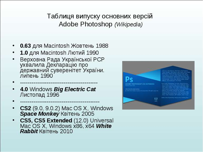 Таблиця випуску основних версій Adobe Photoshop (Wikipedia) 0.63 для Macintos...