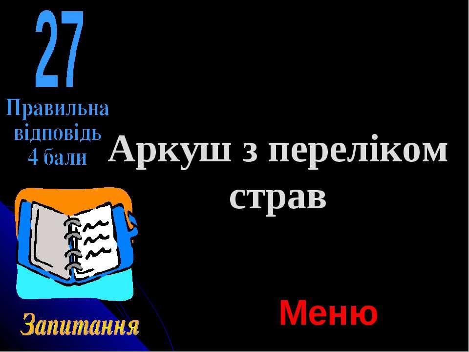 Аркуш з переліком страв Меню