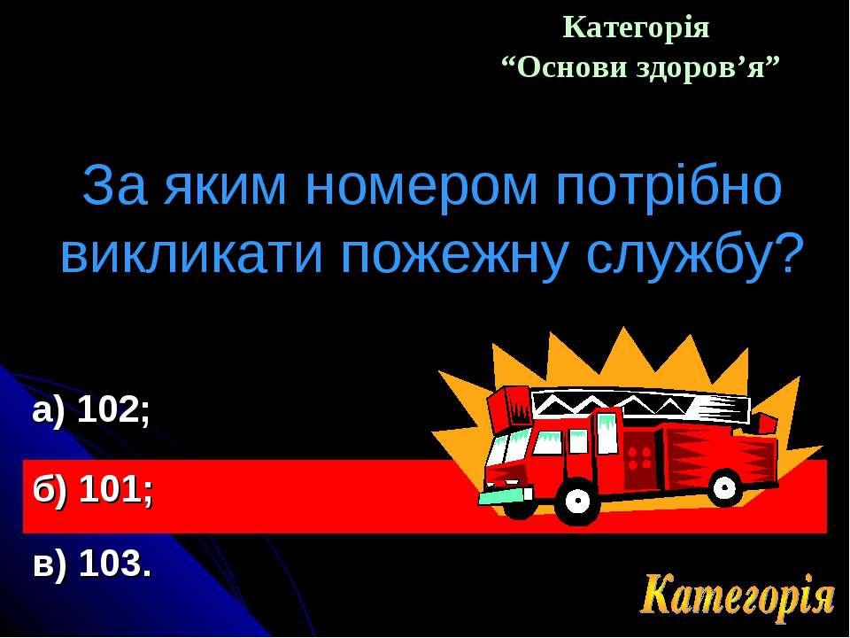 """Категорія """"Основи здоров'я"""" За яким номером потрібно викликати пожежну службу..."""