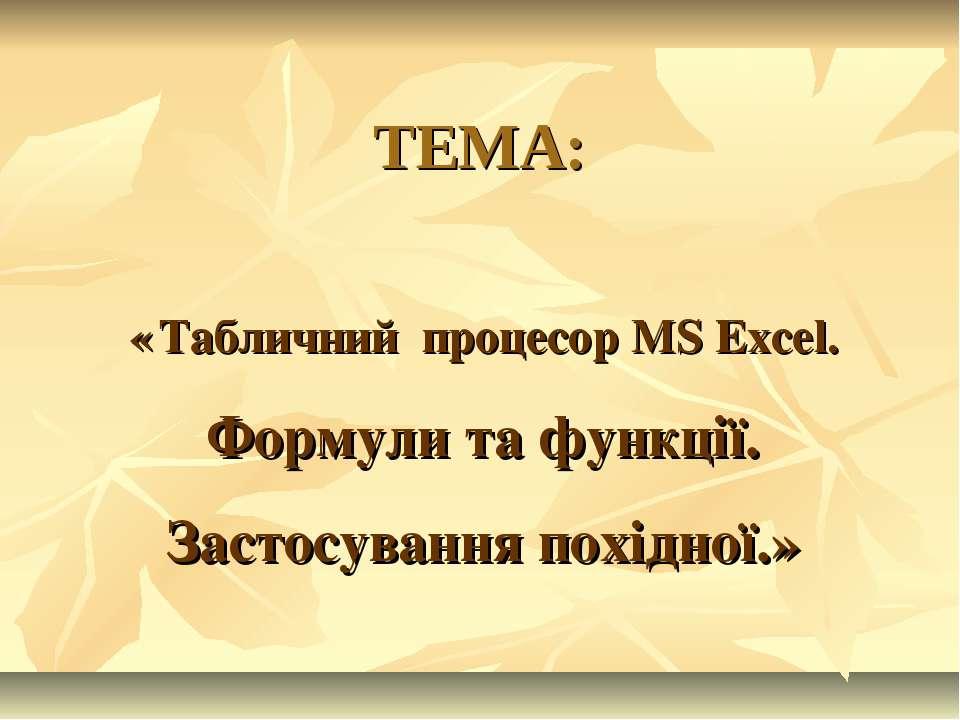 ТЕМА: « Табличний процесор MS Excel. Формули та функції. Застосування похідної.»