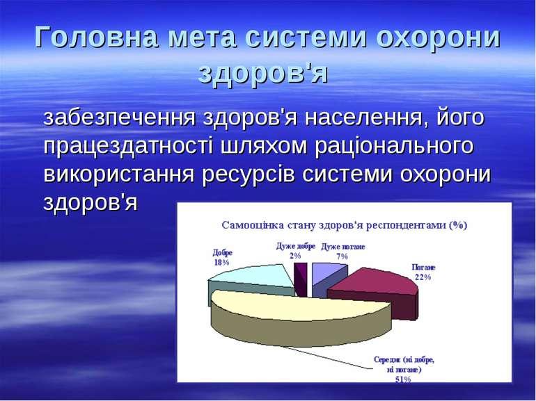 Головна мета системи охорони здоров'я забезпечення здоров'я населення, його п...