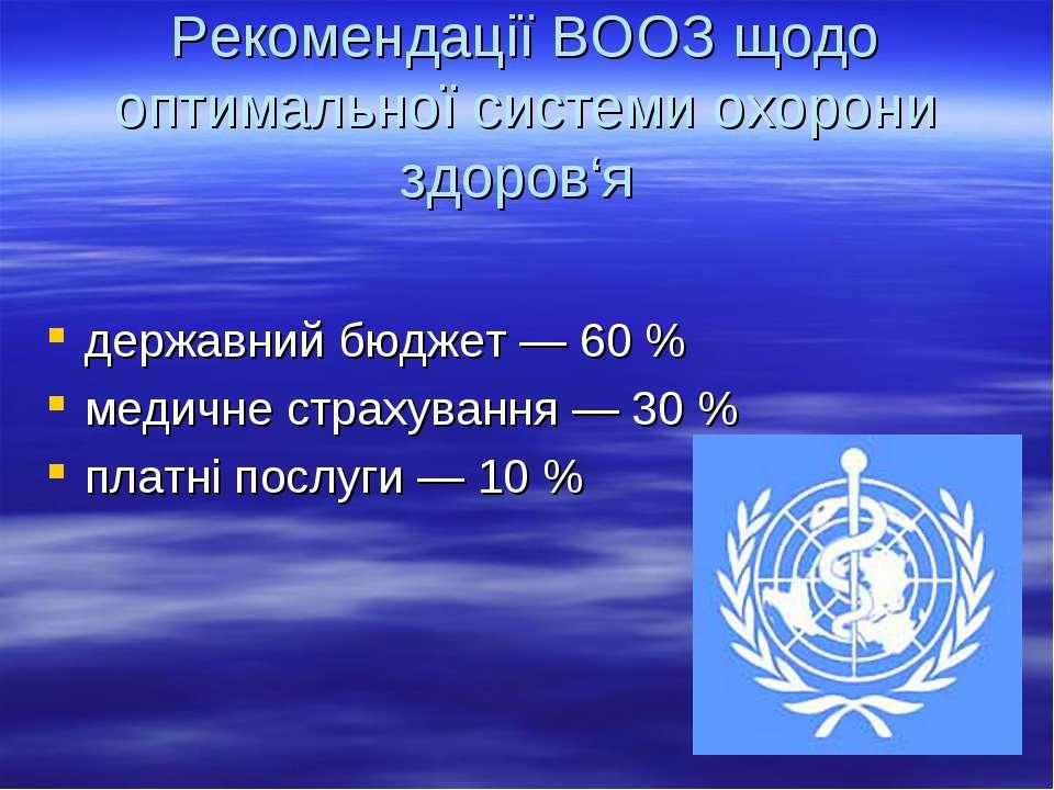 Рекомендації ВООЗ щодо оптимальної системи охорони здоров'я державний бюджет ...