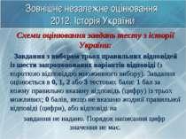 Зовнішнє незалежне оцінювання 2012. Історія України Схеми оцінювання завдань ...