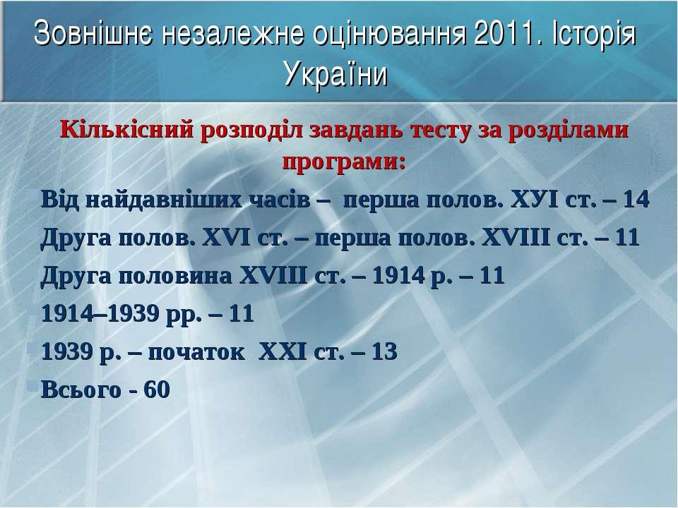Зовнішнє незалежне оцінювання 2011. Історія України Кількісний розподіл завда...