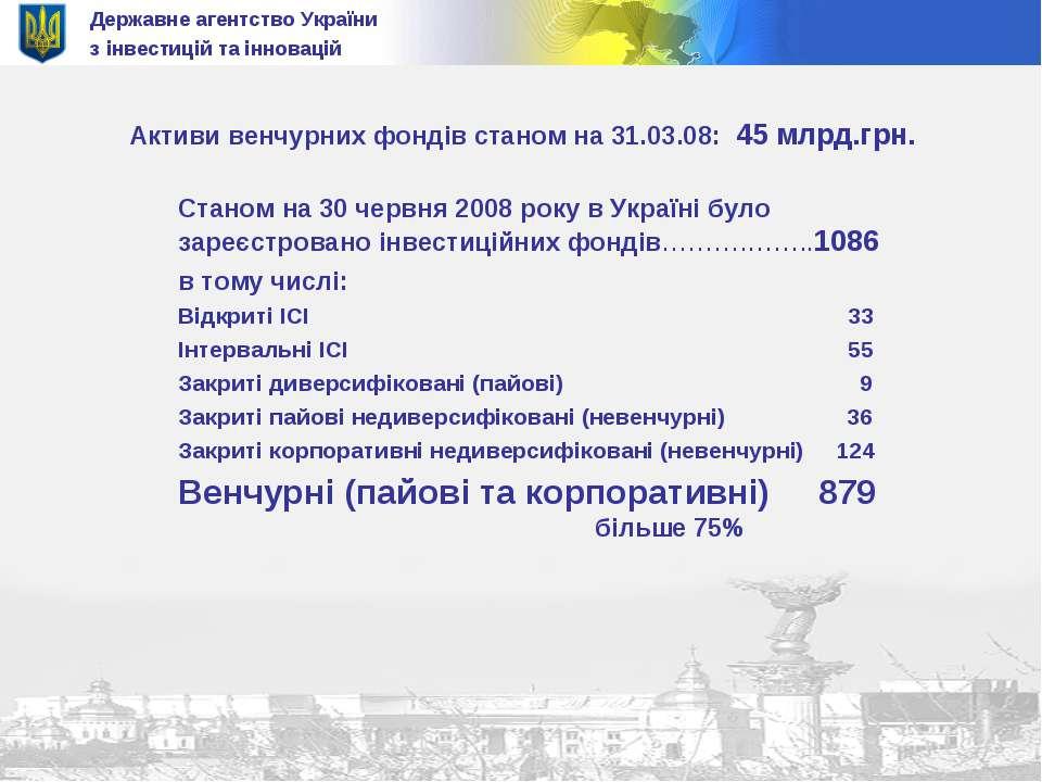 Державне агентство України з інвестицій та інновацій Активи венчурних фондів ...