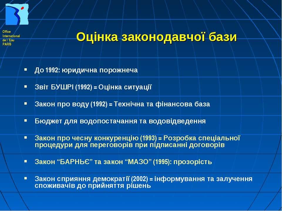 Оцінка законодавчої бази До 1992: юридична порожнеча Звіт БУШРІ (1992) = Оцін...