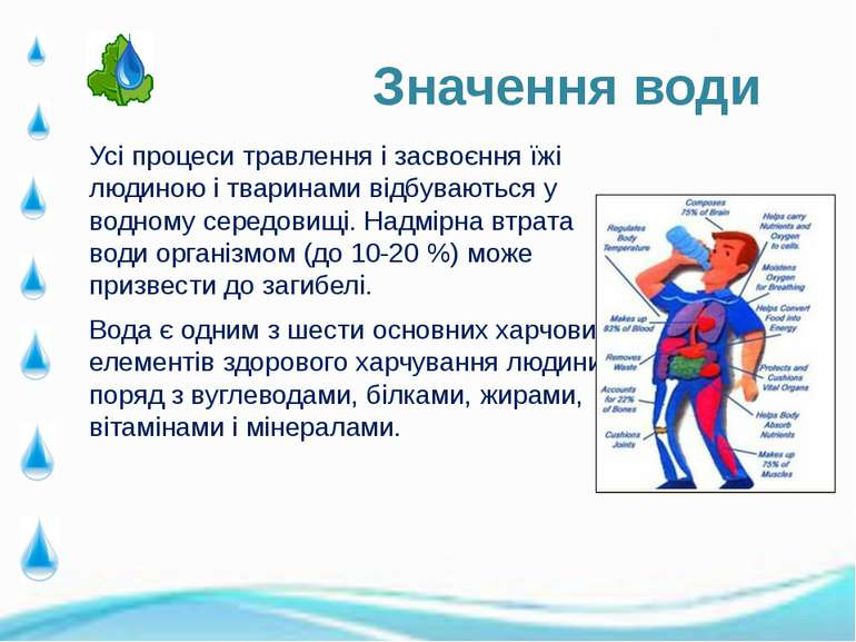 Усі процеси травлення і засвоєння їжі людиною і тваринами відбуваються у водн...