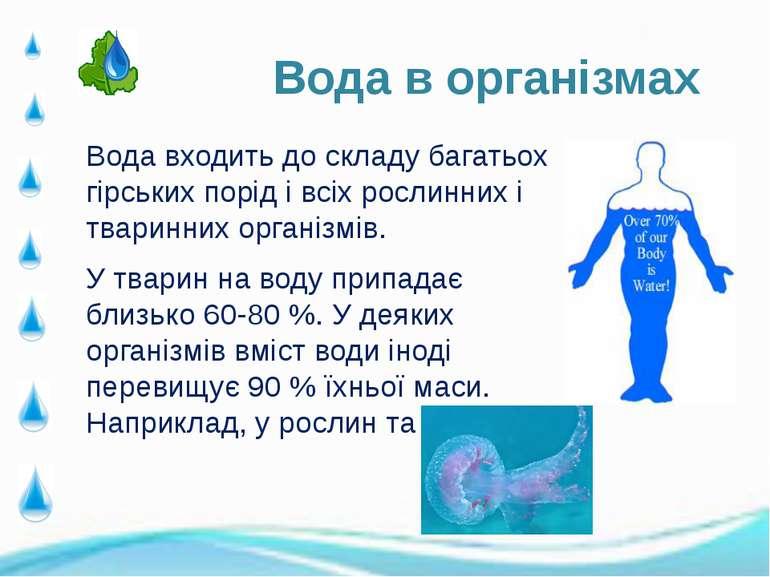 Вода входить до складу багатьох гірських порід і всіх рослинних і тваринних о...