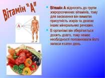 Вітамін А відносять до групи жиророзчинних вітамінів, тому для засвоєння він ...