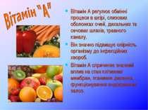 Вітамін А регулює обмінні процеси в шкірі, слизових оболонках очей, дихальних...