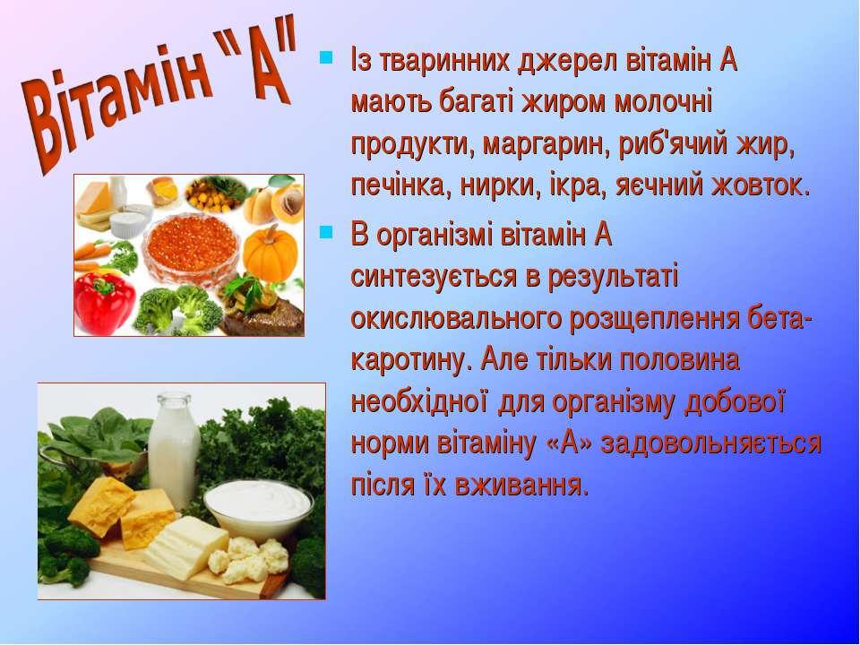 Із тваринних джерел вітамін А мають багаті жиром молочні продукти, маргарин, ...