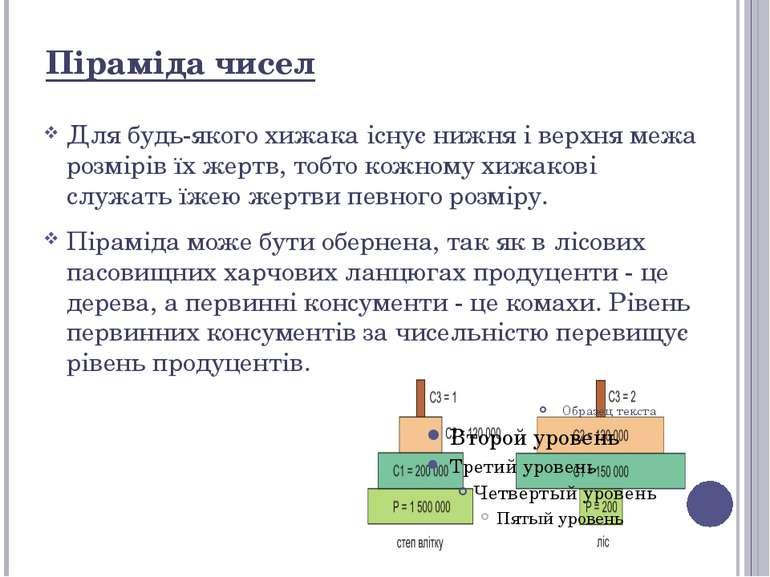 Піраміда чисел Для будь-якого хижака існує нижня і верхня межа розмірів їх же...