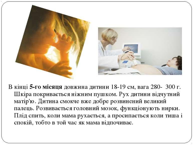 В кінці 5-го місяця довжина дитини 18-19 см, вага 280- 300 г. Шкіра покриваєт...