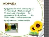 Кукурудзяна олія містить кислоти (у%): 2,5—4,5стеаринова, 8—11пальмітинова...