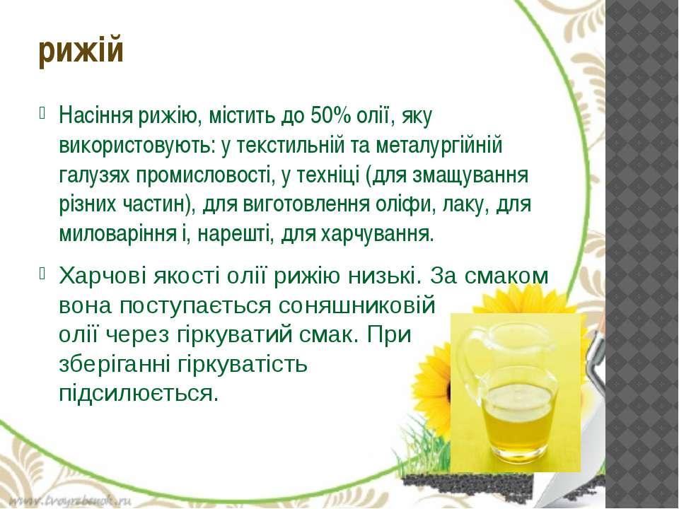 Насіння рижію, містить до 50% олії, яку використовують: у текстильній та мета...
