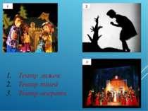 Театр ляльок Театр тіней Театр оперети 1 2 3
