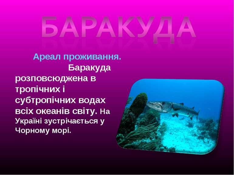 Ареал проживання. Баракуда розповсюджена в тропічних і субтропічних водах всі...
