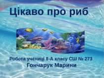 Цікаво про риб Робота учениці 8-А класу СШ № 273 Гончарук Марини