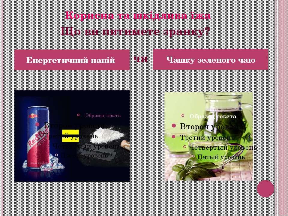 Енергетичний напій Чашку зеленого чаю Корисна та шкідлива їжа Що ви питимете ...