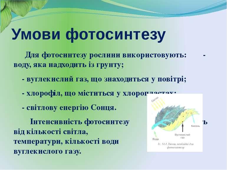 Умови фотосинтезу Для фотосинтезу рослини використовують: - воду, яка надходи...