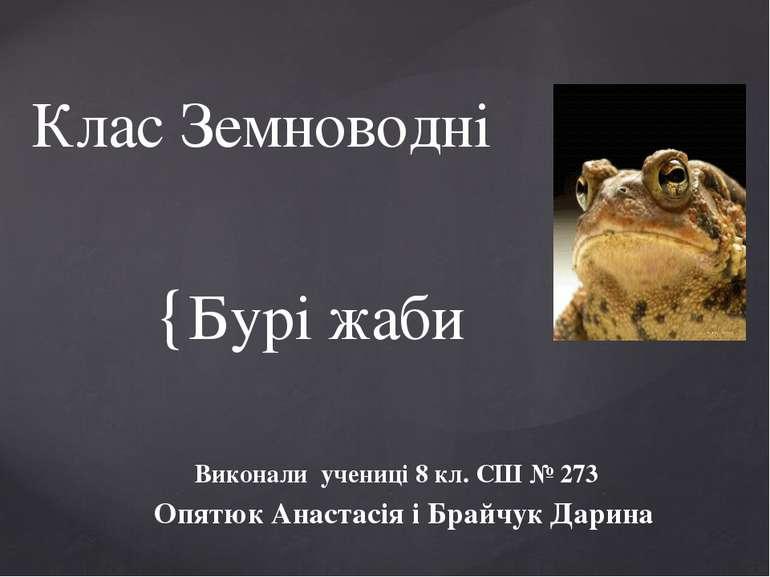 Бурі жаби Виконали учениці 8 кл. СШ № 273 Опятюк Анастасія і Брайчук Дарина К...