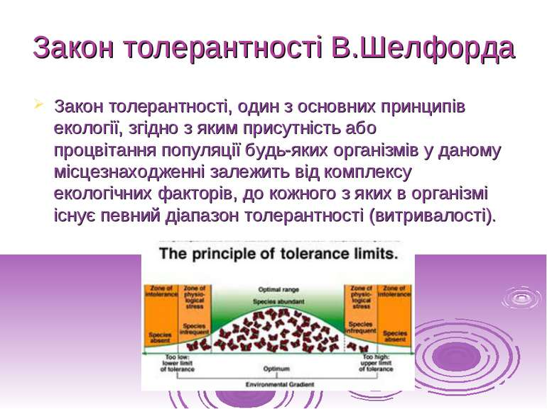 Закон толерантності В.Шелфорда Законтолерантності, один з основних принципів...