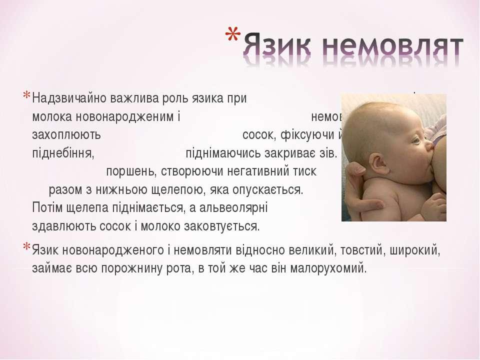 Надзвичайно важлива роль язика при смоктанні молока новонародженим і немовлям...