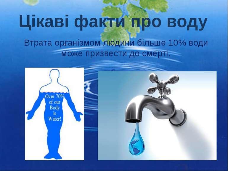Втрата організмом людини більше 10% води може призвести до смерті. Цікаві фак...