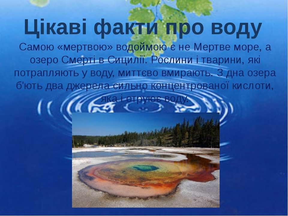 Самою «мертвою» водоймою є не Мертве море, а озеро Смерті в Сицилії. Рослини ...