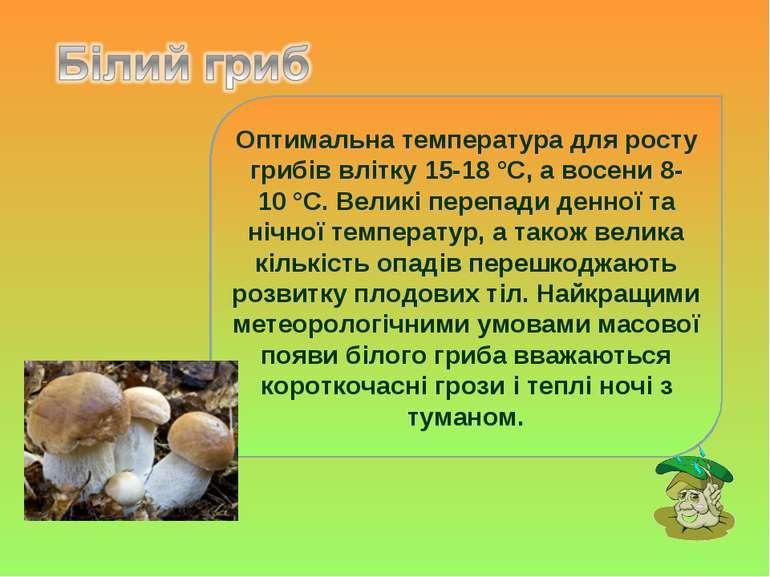 Оптимальна температура для росту грибів влітку 15-18°C, а восени 8-10°C. Ве...