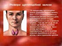 В середньому, щитоподібна залоза дорослої людини важить 18.6 г і 2.3 г у ново...