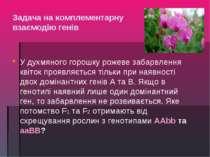 Задача на комплементарну взаємодію генів У духмяного горошку рожеве забарвлен...