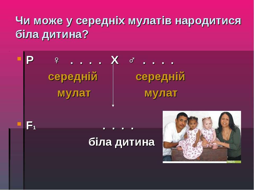 Чи може у середніх мулатів народитися біла дитина? Р ♀ . . . . Х ♂ . . . . се...
