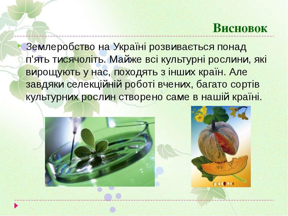 Висновок Землеробство на Україні розвивається понад п'ять тисячоліть. Майже в...