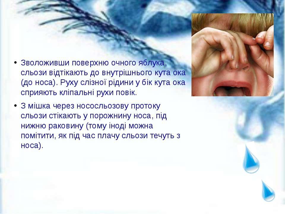 Зволоживши поверхню очного яблука, сльози відтікають до внутрішнього кута ока...