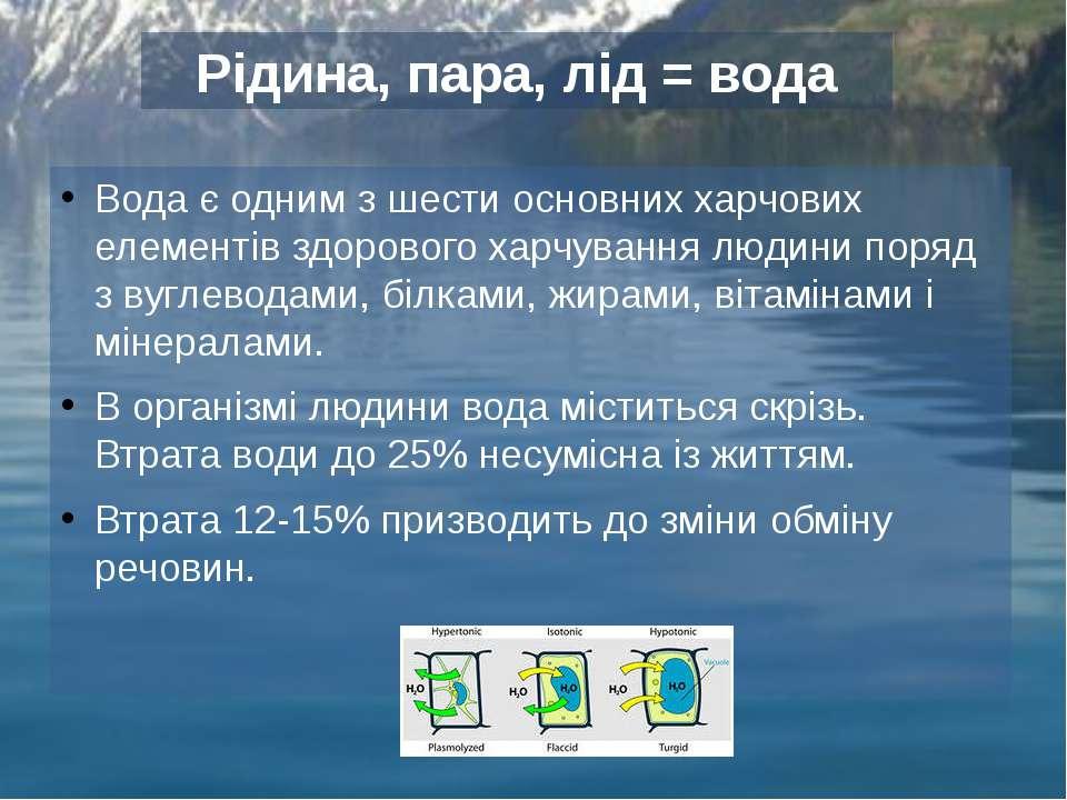 Вода є одним з шести основних харчових елементів здорового харчування людини ...
