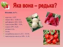 Вітаміни, мг%: каротин - 0,02, тіамін (В1) - 0,08-0,1, рибофлавін (В2) -0,03,...
