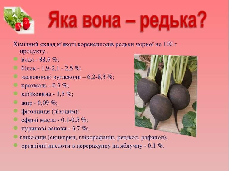 Хімічний склад м'якоті коренеплодів редьки чорної на 100 г продукту: вода - 8...