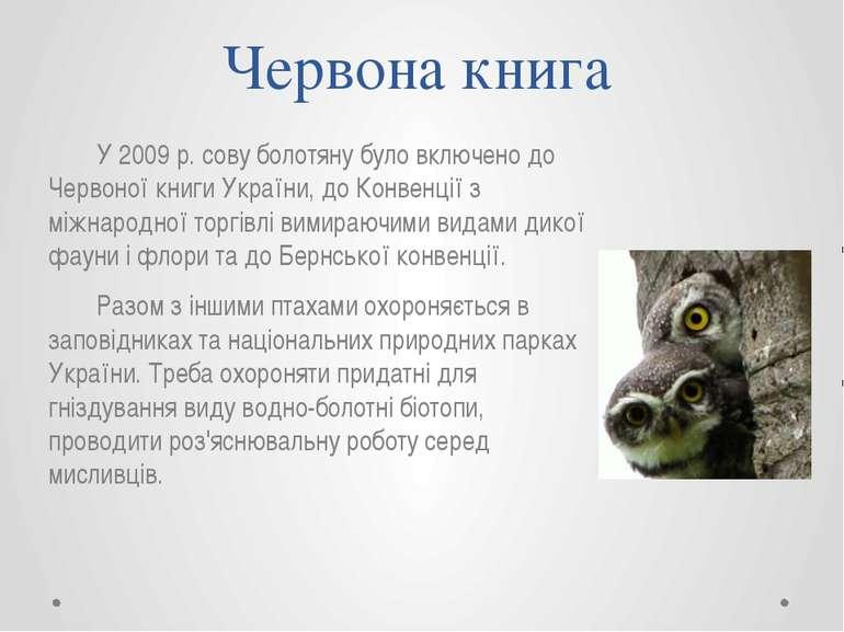Червона книга У 2009 р. сову болотяну було включено до Червоної книги України...