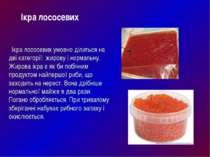 Ікра лососевих умовно ділиться на дві категорії: жирову і нормальну. Жирова і...