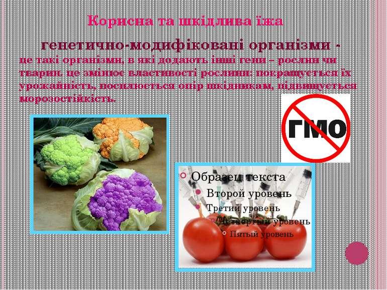 генетично-модифіковані організми - це такі організми, в які додають інші гени...