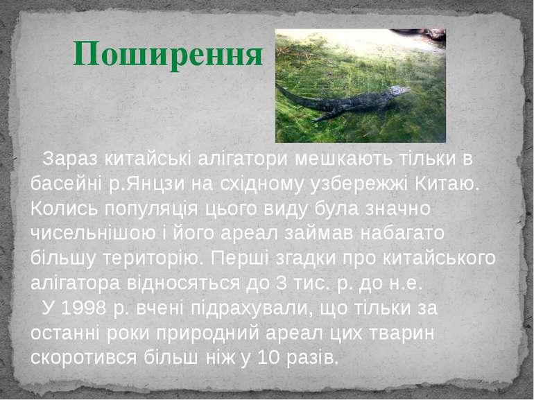 Поширення Зараз китайські алігатори мешкають тільки в басейні р.Янцзи на схід...