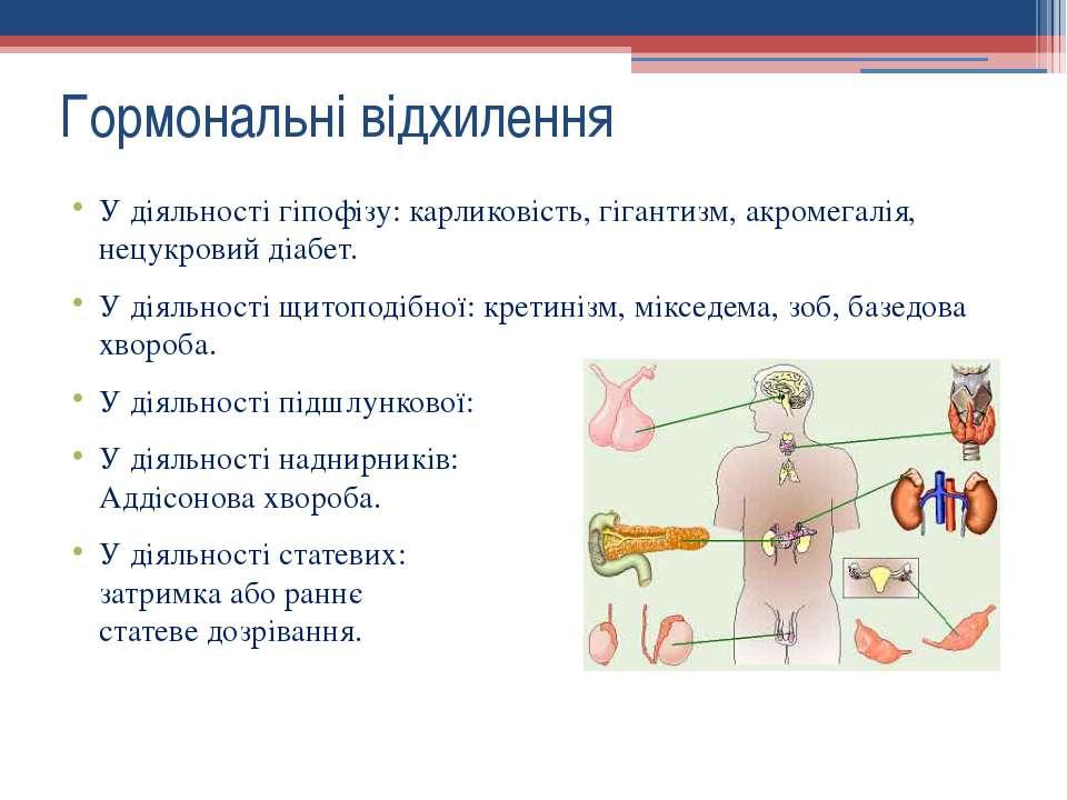 Гормональні відхилення У діяльності гіпофізу: карликовість, гігантизм, акроме...