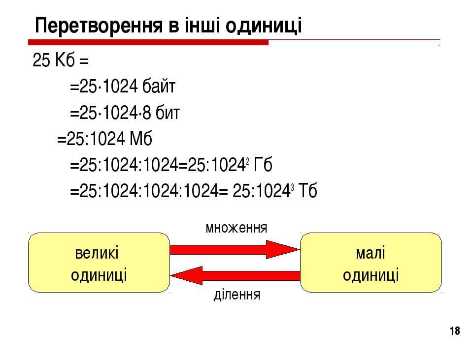 * Перетворення в інші одиниці 25 Кб = =25·1024 байт =25·1024·8 бит =25:1024 М...