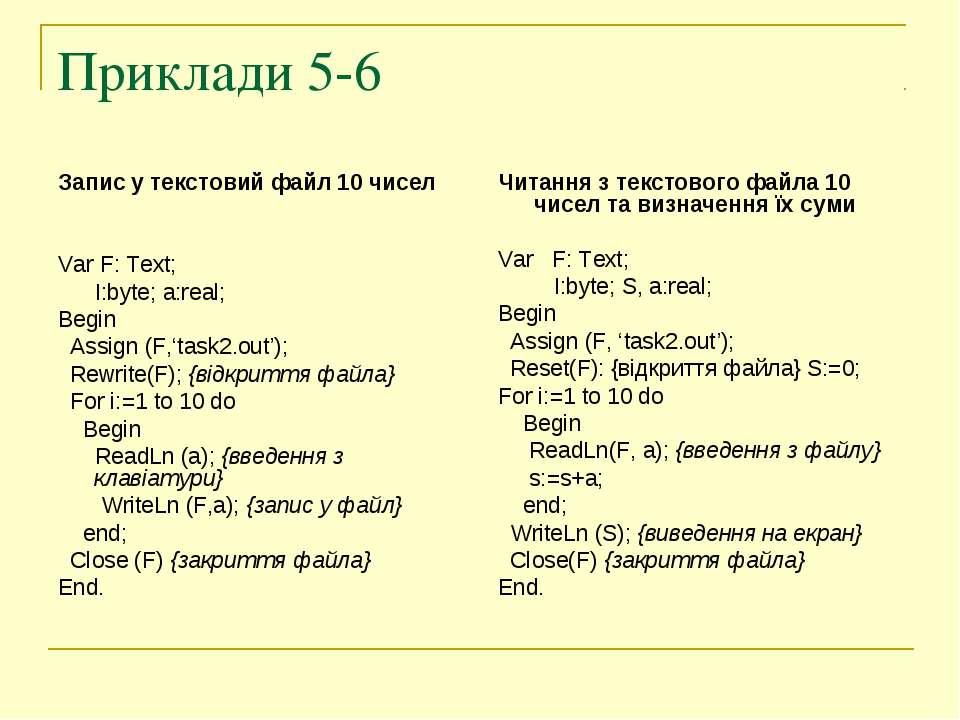 Приклади 5-6 Запис у текстовий файл 10 чисел Var F: Text; I:byte; a:real; Beg...