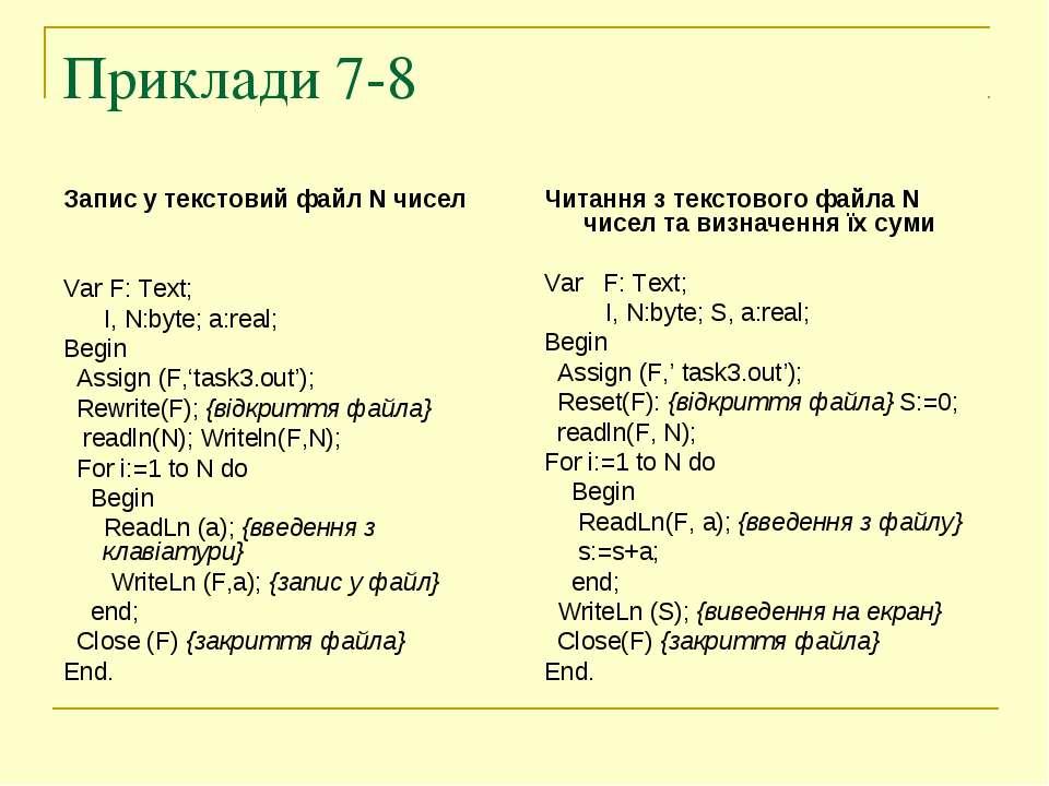 Приклади 7-8 Запис у текстовий файл N чисел Var F: Text; I, N:byte; a:real; B...